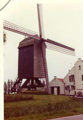 Preserved post mill at Klemskerke, Belgium