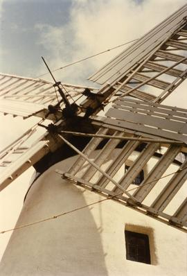 Photograph of roller reefing sails, Ballycopeland Windmill, Down, Ireland