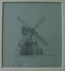Pencil sketch of mill exterior by Arthur Hopkins