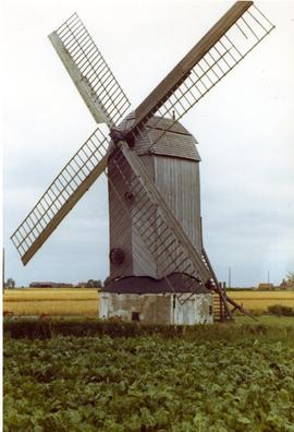 Disused/preserved post mill at unidentified location, Belgium, summer 1971
