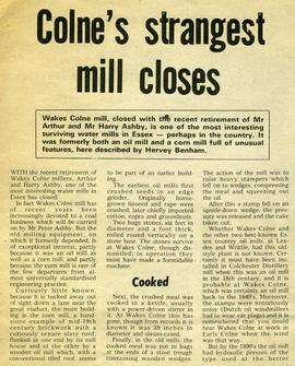 """Colne's strangest mill closes"""
