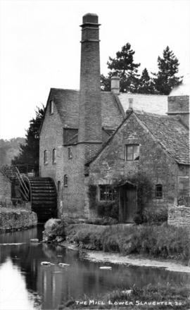 View of buildings showing water wheel and chimney, Slaughter Mill, Lower Slaughter