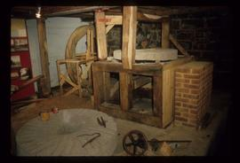 Internal view showing stone crane and other machinery, Wood's Mill, Small Dole