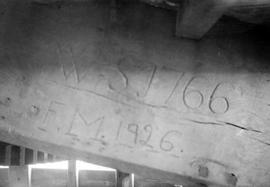Initials carved into wooden beam , post mill, Costock