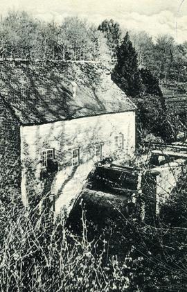Looking down on the mill and waterwheel, Coster's Mill, West Lavington