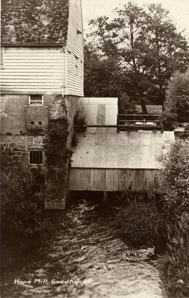 Downstream view of corrugated metal wheel house, Hope Mill, Goudhurst