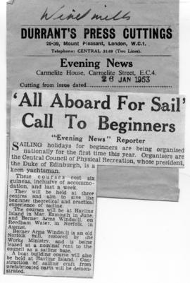 """'All aboard for sail' Call to Beginners"""