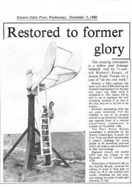 """Hollow Post Drainage Mill restored to former glory"""