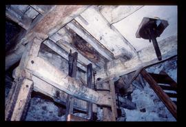 Interior showing hursting and underside of bedstone, North End Mill, Swineshead
