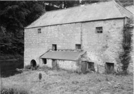 Twizel Mill, Cornhill-on-Tweed, with river and young boy