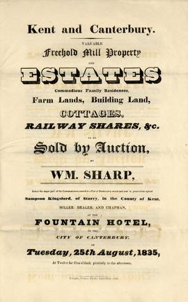 Auction particulars for mills and other estates in Canterbury