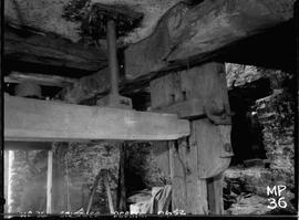 Wooden bridge tree and lower end of stone spindle, tower mill, Bolsover