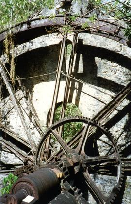 Photograph of the waterwheel and water unit, Butterfly Farm, Martinique