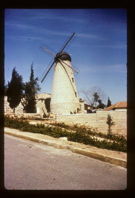 Montefiore Windmill, Jerusalem, preserved with dummy sails and cap