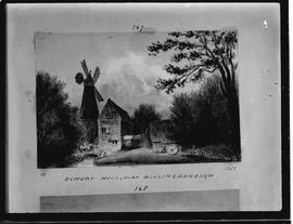 Photograph of drawing of windmill and watermill