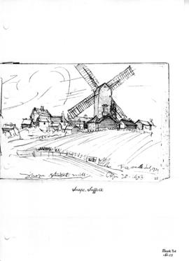 Snape Village and Post Mill, Suffolk. Bk 34, no 25.