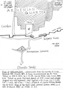 Plan of Jerusalem showing a windmill within the city walls