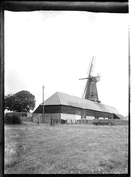 Smock mill, West Blatchington, with stocks, fan and two sail frames, and barns