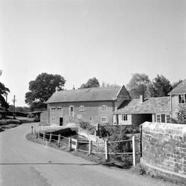 Padner's Mill, Alderholt, and adjacent farm buildings from village street
