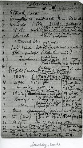 Notebook page of mill details