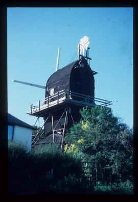 Hogg Hill Mill, Icklesham, scaffolded for repair with stocks and rooftop fantail