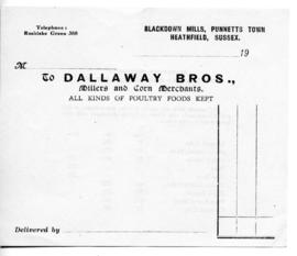 Dallaway Bros Receipt unused