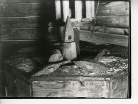 Mill stones and dressing tools in a toe mill in Maaninka, Savo
