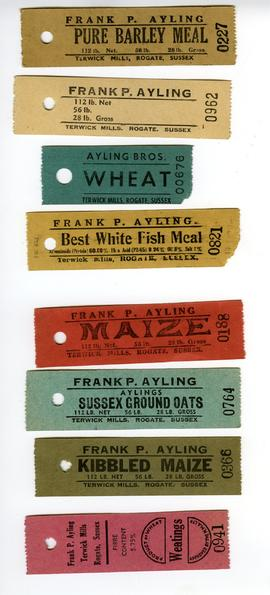 Coloured tickets for mill products - Ayling, Terwick Mill