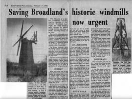 """Saving Broadland's historic windmills now urgent"""