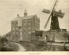 View across canal showing windmill and steam mill at Tring in Hertfordshire