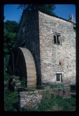 Part of unidentified watermill building with wheel