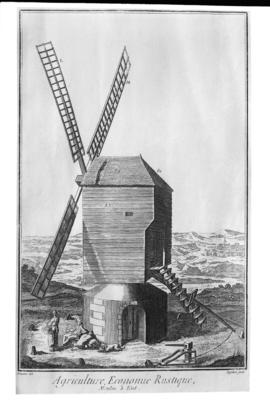 French or Belgium post mill exterior view