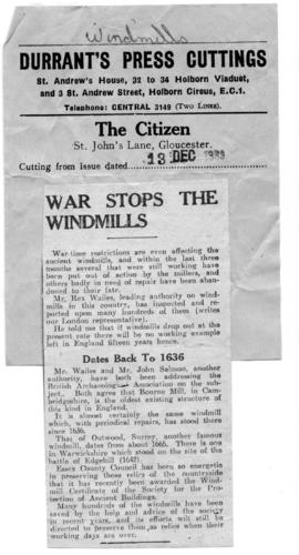 """War stops the Windmills"""