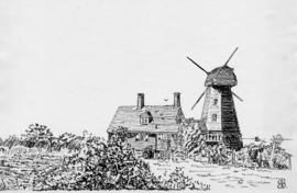 Pen and ink drawing of house and mill