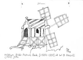 Drawing of post mill