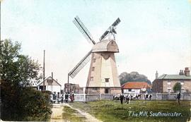 Postcard of Southminster Windmill and village with numerous figures