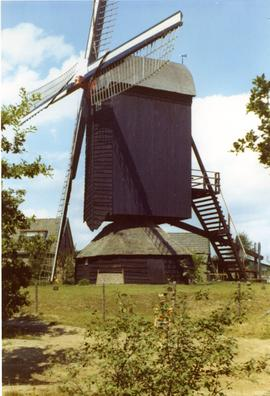 The Doesburg Mill (preserved post mill) at Ede, Holland, summer 1971