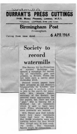 """Society to record watermills"""