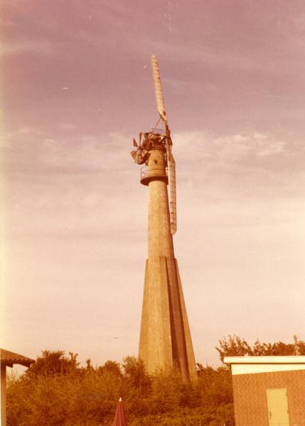 modern windmill but with fantail near ullerslev funen denmark