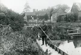 Man, Boy and Punt, watermill, Melton