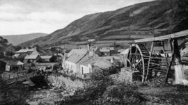 Watermill, Blaenau Festininog, in distance