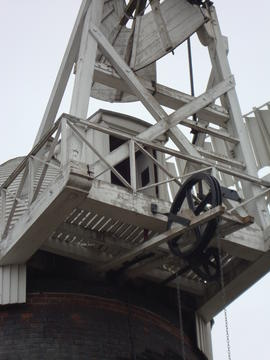 Fanstage, winding and striking gear, tower mill, Bardwell