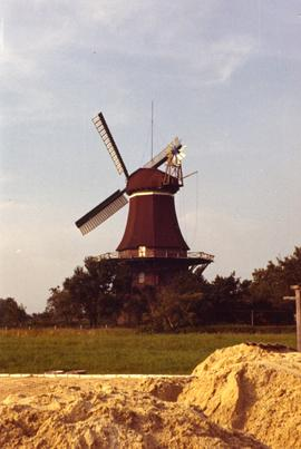 Preserved smock mill at Mohlenworf, Weener, West Germany (probably Schleswig-Holstein)