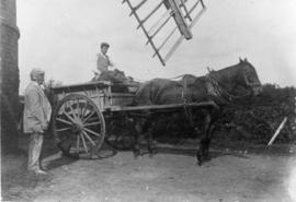 Miller and son with horse and cart, post mill, Bedingfield