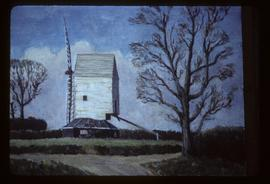 Photograph of painting showing derelict post mill with two sails