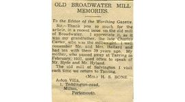 """Old Broadwater Mill memories"""