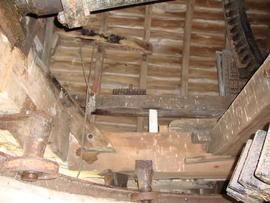 Cap frame, brake lever, curb and truck wheels, Stracey Arms Mill, Tunstall