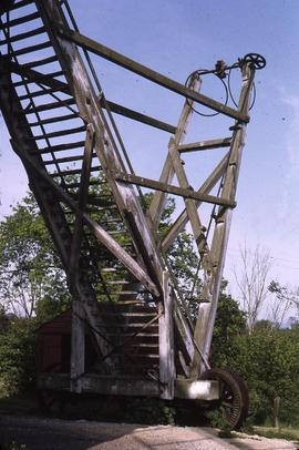 Ladder and tailpole of the post mill, Friston, Suffolk