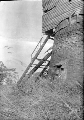 Lower part showing ladder, post mill, Costock