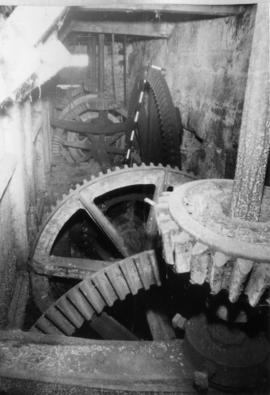 Interior showing line shaft and driven gears, Demesnes Mill, Barnard Castle